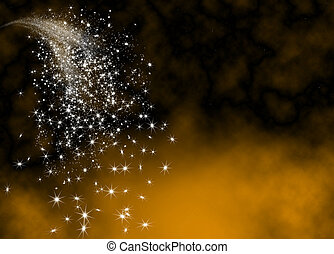 Abstract Bright and Glittering Falling Star Tail