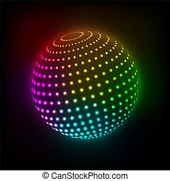 Bright ball - Abstract Bright ball icon on a dark background...