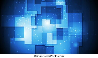 Abstract bright blue geometric video animation