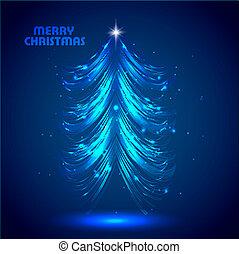 Abstract bright blue shiny christmas tree vector