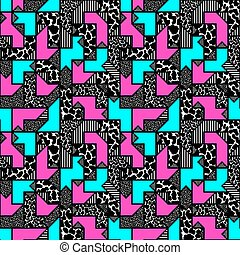 abstract bright colored geometric pattern in style of the 80s