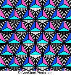 abstract bright colored triangle geometric pattern in style of the 80s
