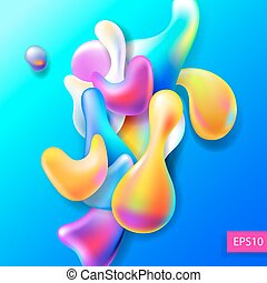 abstract bright colorful plasma drops shapes pattern isolated on