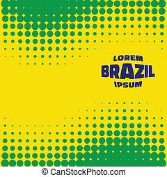 Abstract Bright Halftone Background using Brazil flag colors