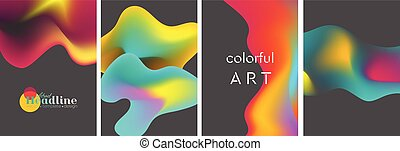 Abstract bright liquid wavy shapes backgrounds