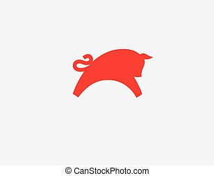 Abstract bright logo red bull icon for business company