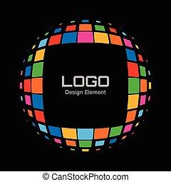 Abstract Bright Rainbow Halftone Logo on black background