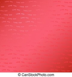 abstract bright red background for valentine's day with gradient - wavy text love you