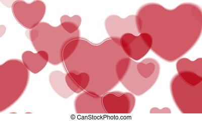 Abstract bright red hearts video animation