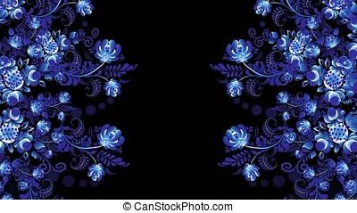 Abstract bright rotating kaleidoscope of retro flower...