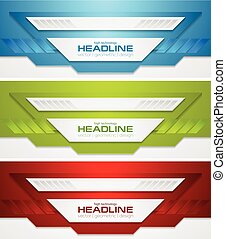 Abstract bright tech corporate banners collection