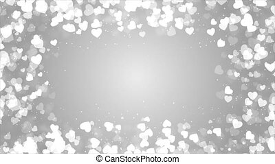 Abstract Bright White background with sparkling heart shapes...