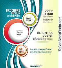 Abstract Brochure or flyer - Red and green circle on blue...