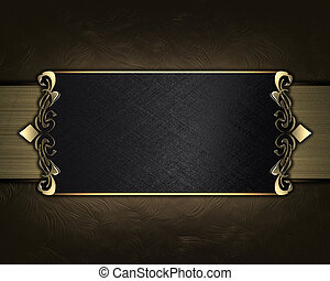 Abstract brown background with black name plate with...