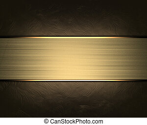 Abstract brown background with gold nameplate.