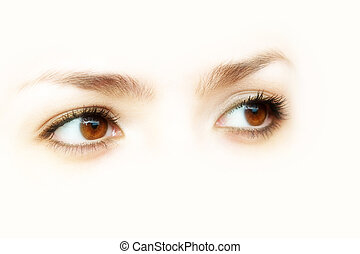 Abstract brown eyes, isolated on white