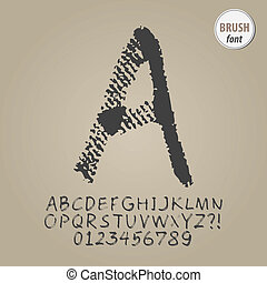 Abstract Brush Alphabet and Digit Vector