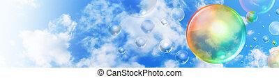 Abstract Bubble Rainbow Header in Sky