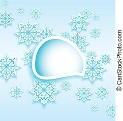 Abstract bubble with set snowflakes