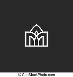 Abstract building logo, vaulted arched design in medieval style architecture icon