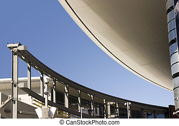 Abstract Building Roof in Las Vegas Strip with Monorail