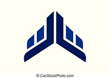 abstract building up arrow logo icon vector