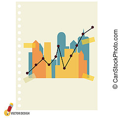 Abstract building with graph. Vector illustration.