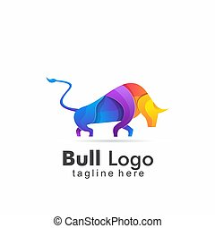 abstract bull colorful logo design