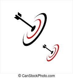 Abstract bulls eye target arrow logo vector design icon
