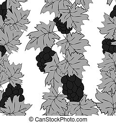Abstract bunch of grapes with leaves on a white background. Bunch of grapes with leaves are drawn in a sketch style. Seamless pattern.