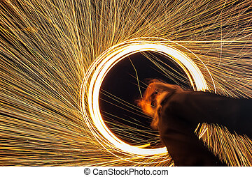 Abstract Burning steel wool fireworks background