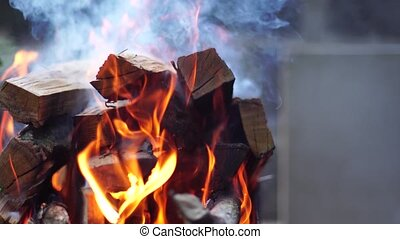 Burns orange flame of fire