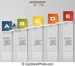 Abstract business 5 step staircase infographics. Vector...