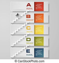 Abstract business 5 step staircase