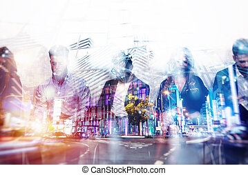 Abstract business background concept with double exposure and network effects