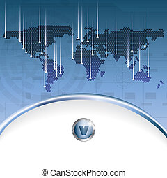 Abstract business background with earth map - Abstract blue...