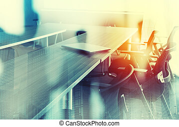 Abstract business background with meeting room. Double exposure