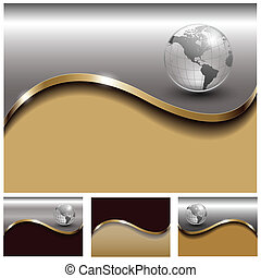 Abstract business backgrounds gold and silverl set, vector