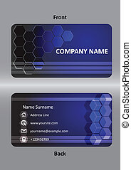 abstract  business blue card template