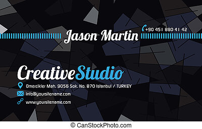 Abstract business card blue