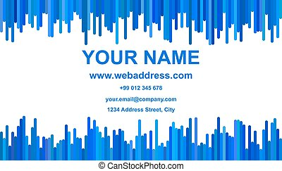 Abstract business card template design - namecard graphic with vertical stripes in blue tones on white background