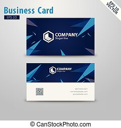 Abstract Business Card vector template design 2 sided concept