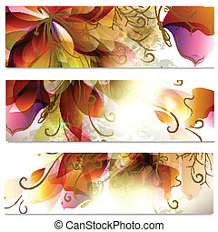 Abstract business cards set in flor - Vector illustration ...