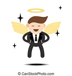 abstract business cartoon character concept businessman with business success with angel wings vector illustration