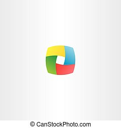 abstract business colorful cube logo square box icon