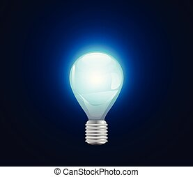 abstract business concept light bulb on hi tech blue background