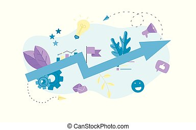 Abstract business growth blue arrow. Finance concept