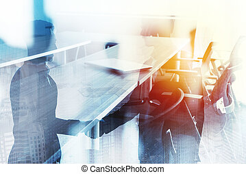 Abstract business handshake background with meeting room. Concept of partnership and teamwork. Double exposure