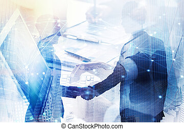 Abstract business handshake. Concept of partnership and teamwork. Double exposure
