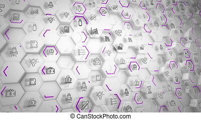 """Abstract business hexagons going askew"" - ""Impressive 3d..."